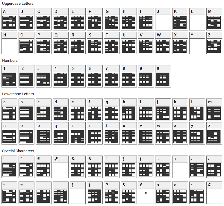 Katakana, block Font Character Map