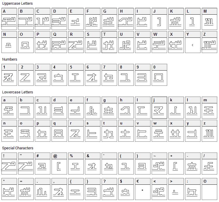 Katakana, pipe Font Character Map