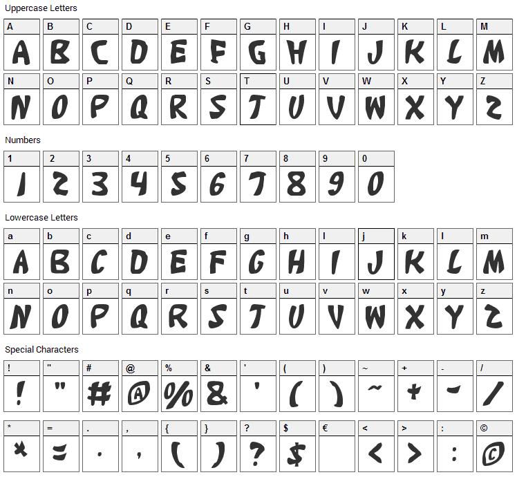 Katana Font Character Map