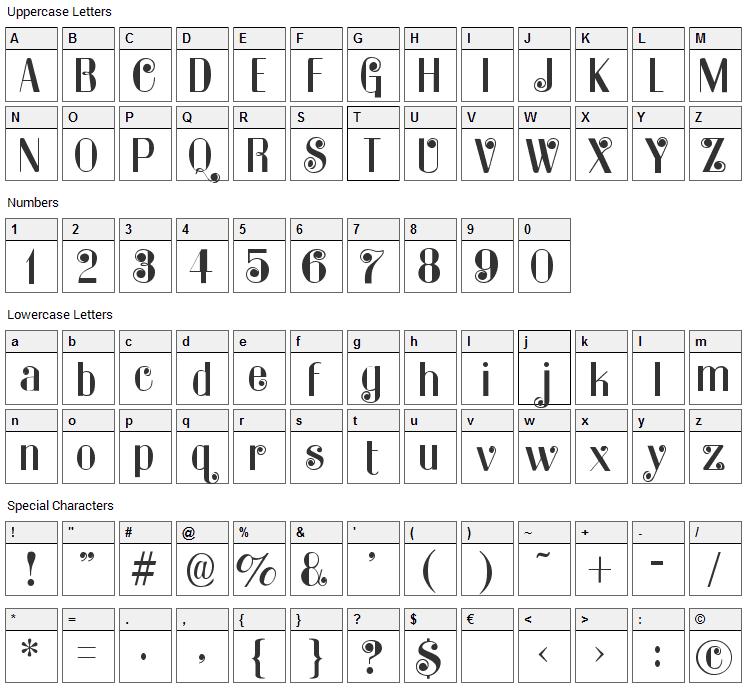 Kater Rino Font Character Map