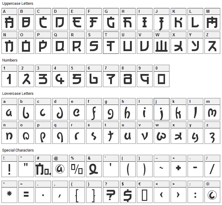 Kato Font Character Map