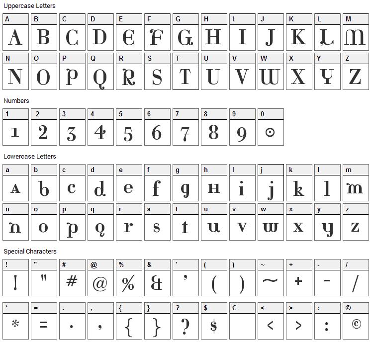Katrina Font Character Map