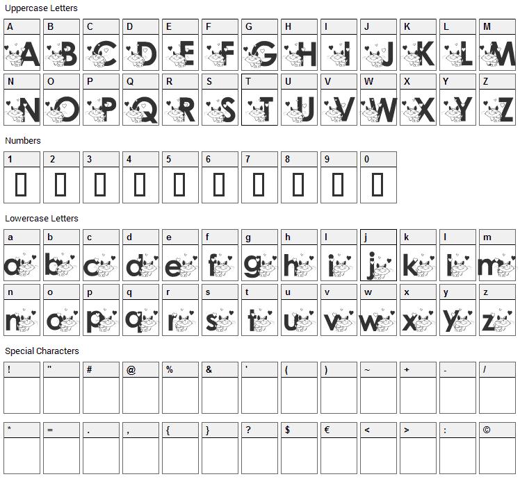 Katzcatz KG Font Character Map