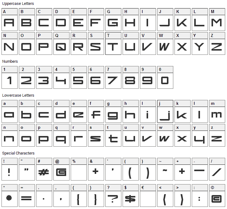 Kaufhalle Font Character Map