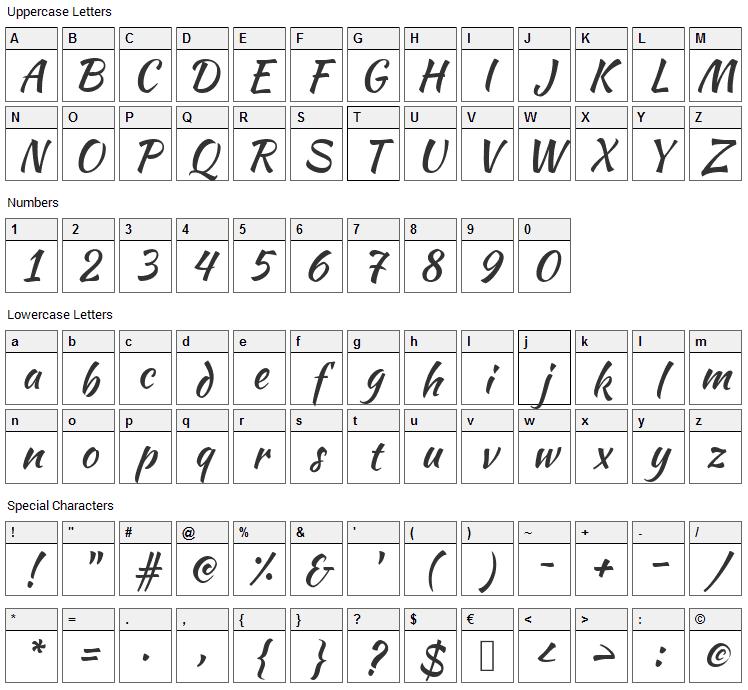 Kaushan Script Font Character Map