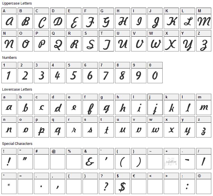 Kavaler Kursive Font Character Map