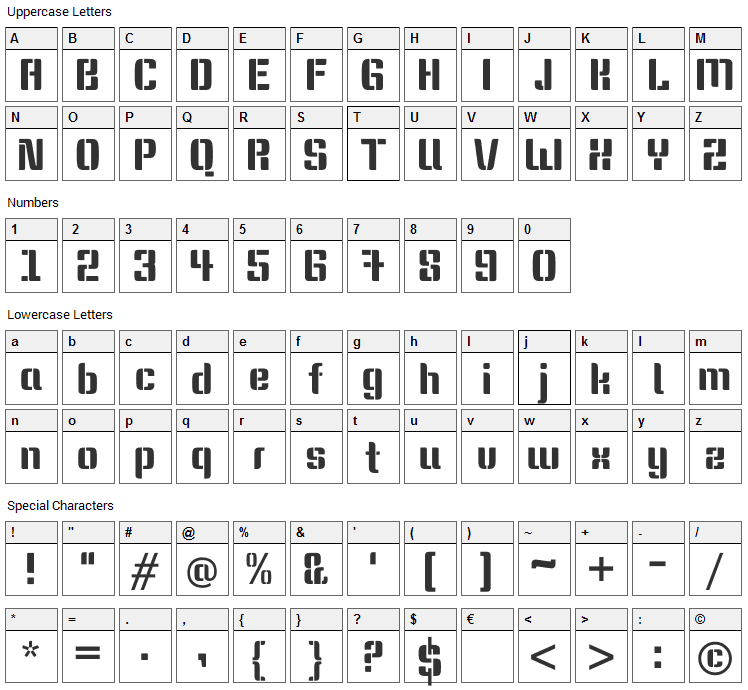 Keania One Font Character Map