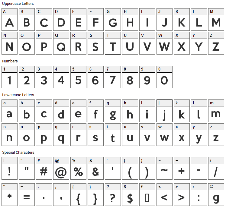 Keep Calm Font Character Map