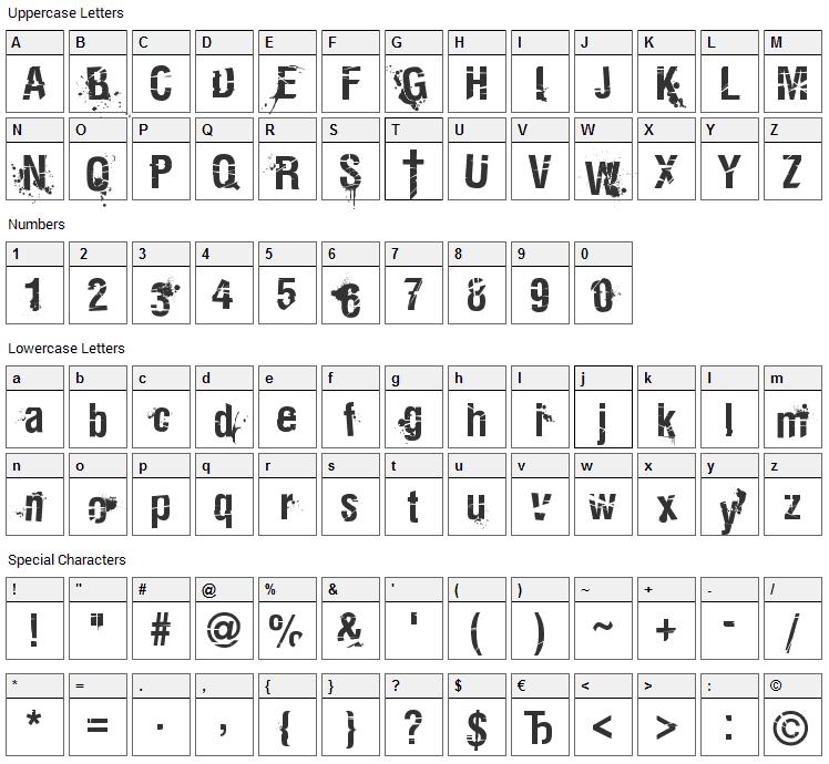 Keetano Katana Font Character Map