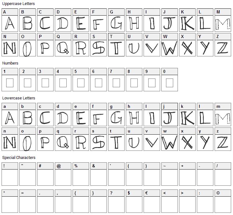 Kega Font Character Map