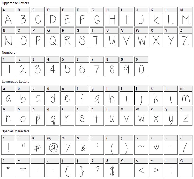 Kelli Lynn Font Character Map