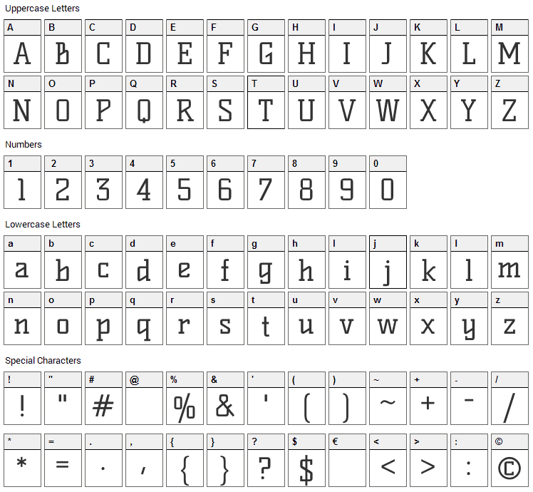 Kelly Slab Font Character Map