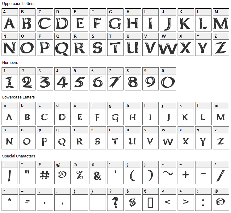 Kelt Caps Freehand Font Character Map