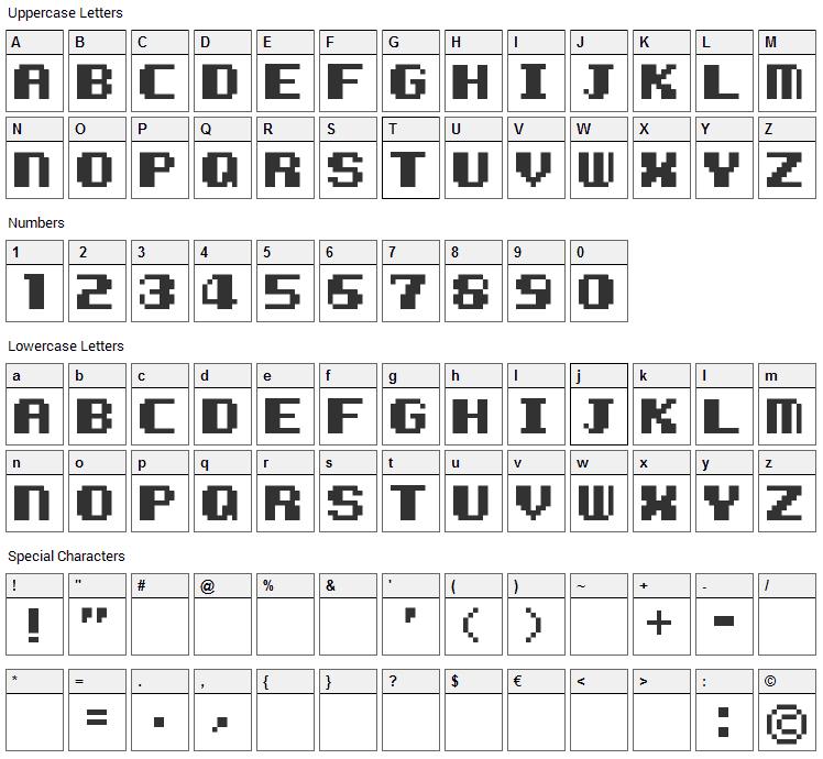 Kemco Pixel Font Character Map