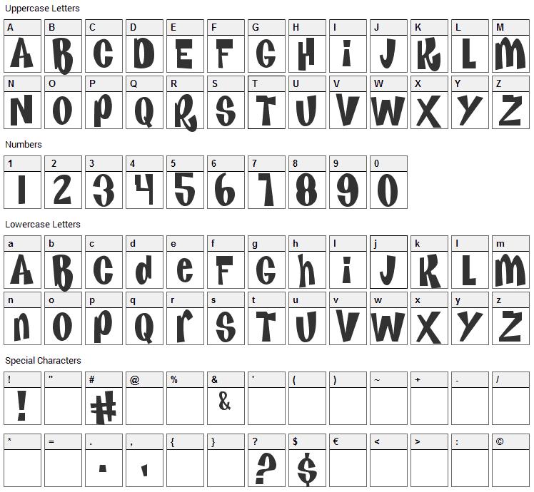 Kenan & Kel Font Character Map