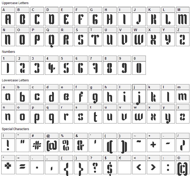 Kenia Font Character Map
