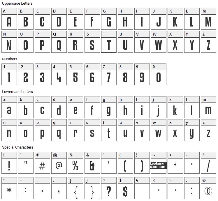 Kenyan Coffee Font Character Map
