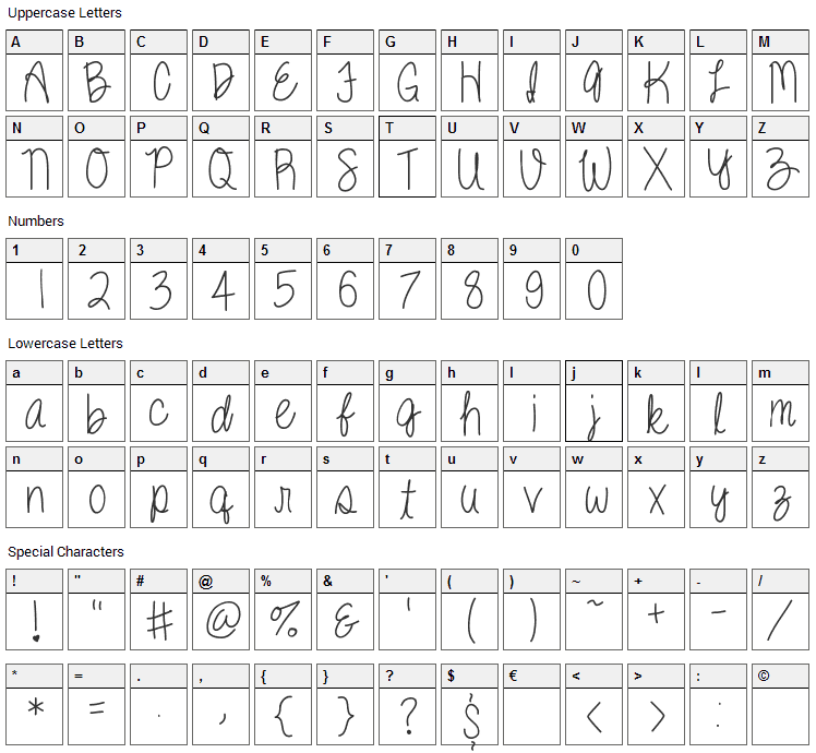 Kenzie Font Character Map