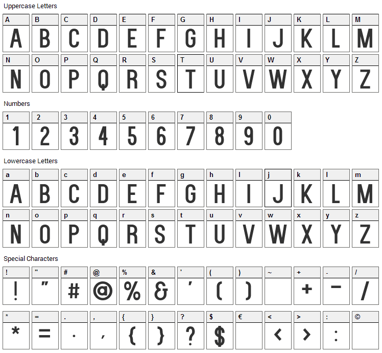 Kenzo Font Character Map