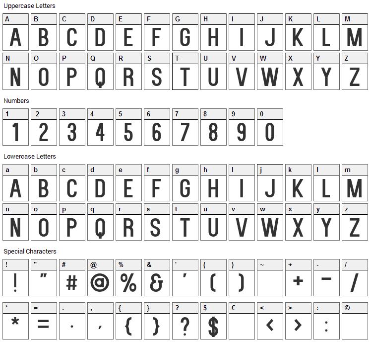 Kenzo Font Character Map