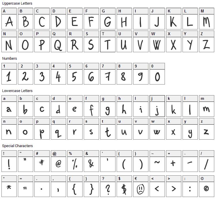 Kenzou Font Character Map