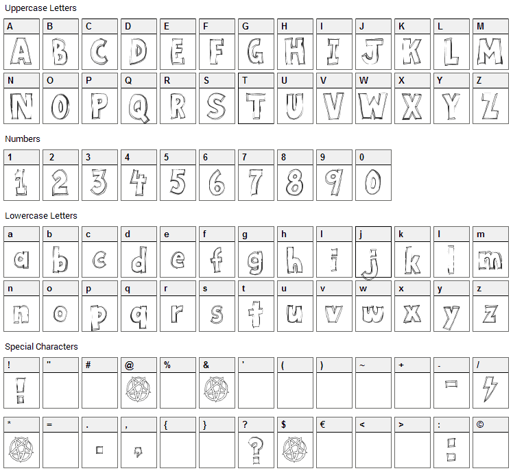 Key Tab Metal Font Character Map