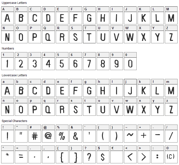 Keyboard Plaque Font Character Map