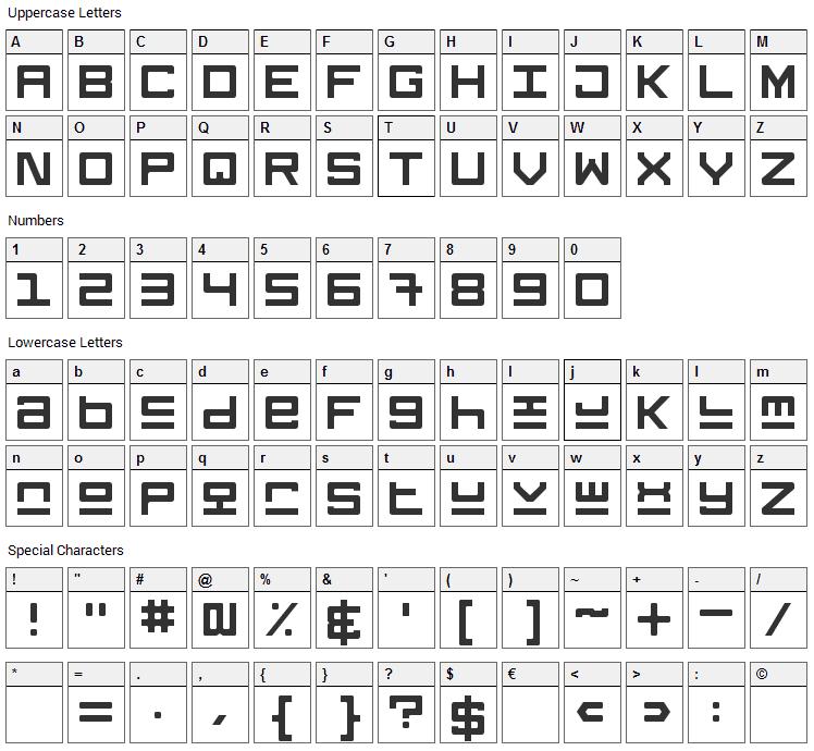 Keystone Font Character Map