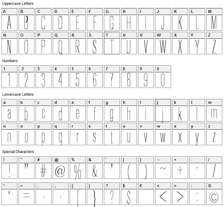 Keytin Light Font Character Map