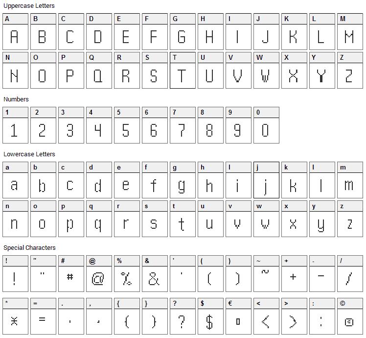 Kharon 4a Font Character Map