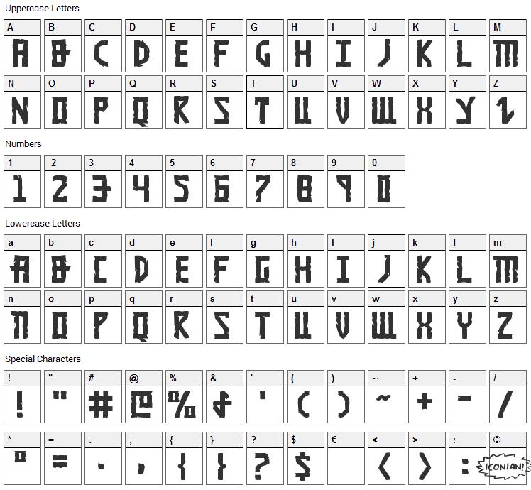 Khazad-Dum Font Character Map