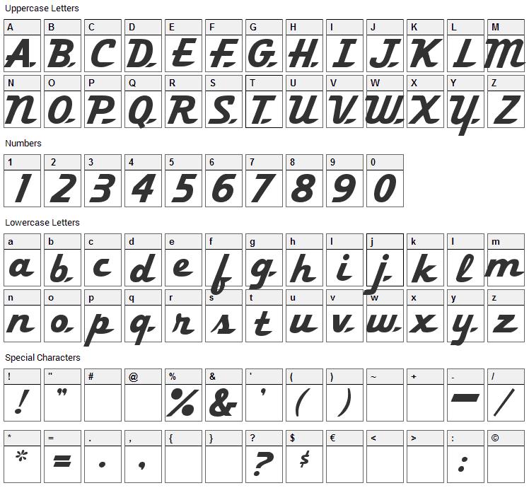 Khedive Font Character Map