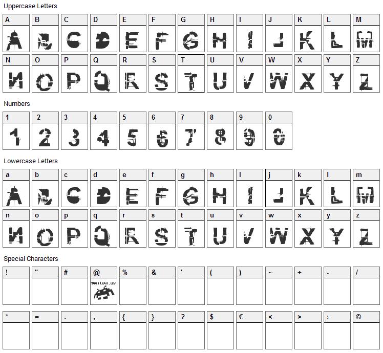 Kibblez no bitz Font Character Map