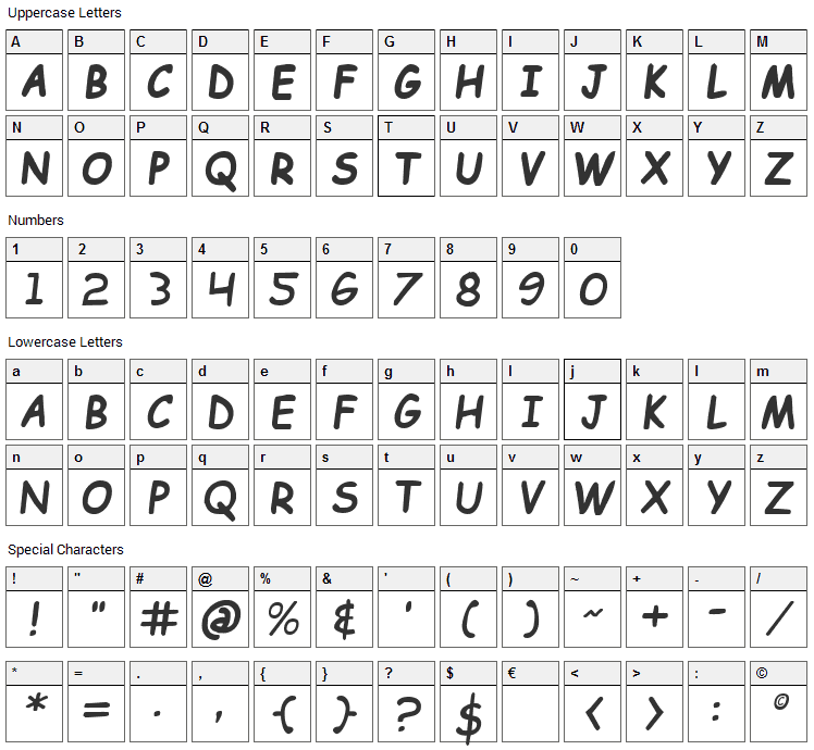 Kid Cobalt Font Character Map