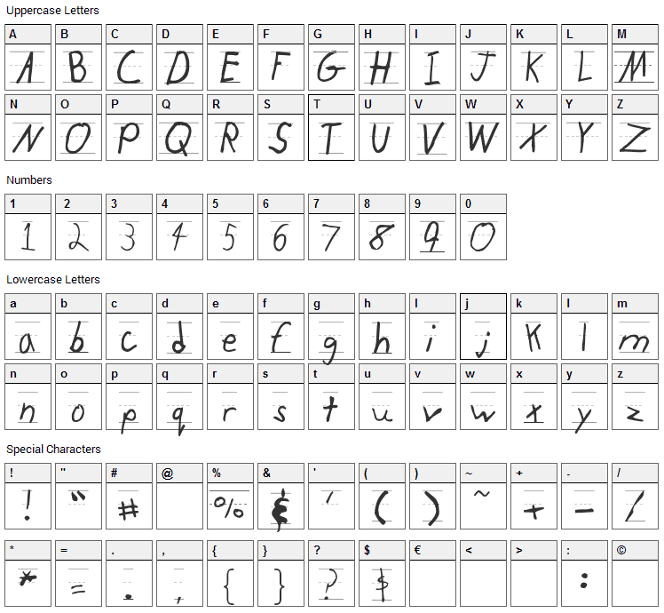 KidTYPERuled Font Character Map