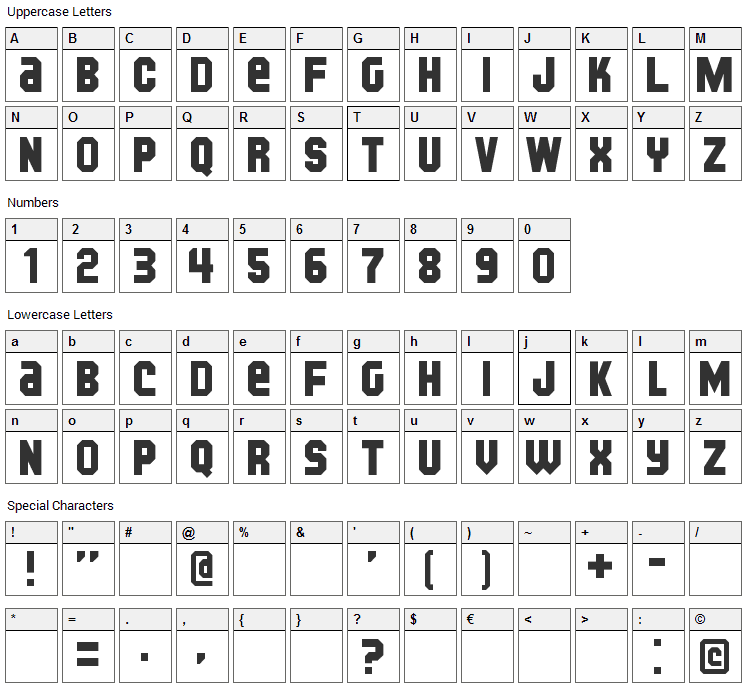 Kijkwijzer Font Character Map