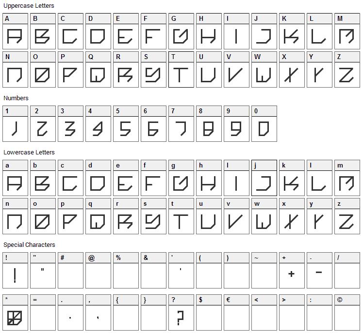 Kikakee Font Character Map