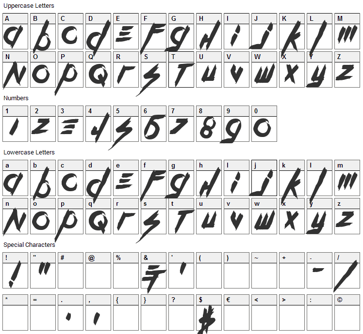 Kill The Noise Font Character Map