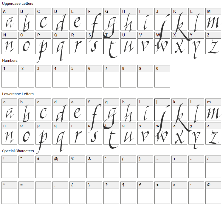 Killigraphy Font Character Map