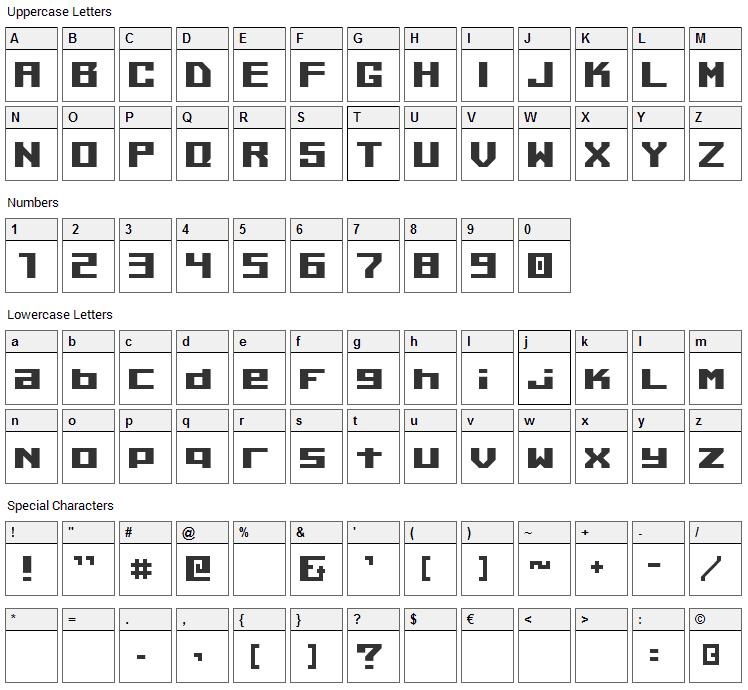 Kiloton Font Character Map