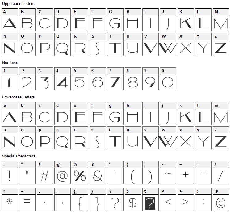Kilsonburg Font Character Map