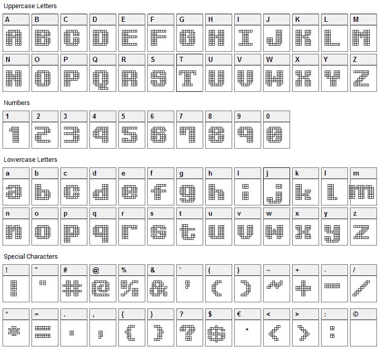 Kimidori Mugcup Font Character Map