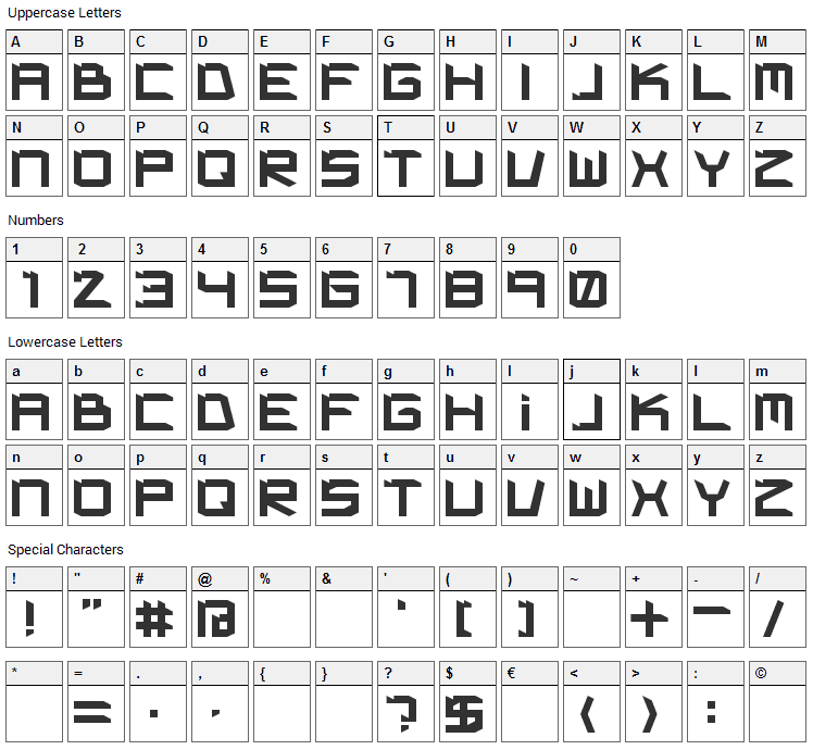Kimpet Font Character Map