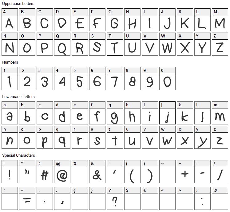 Kindergarten Font Character Map