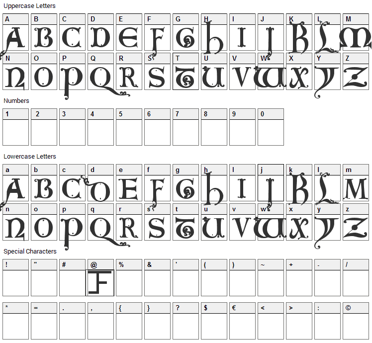 King Arthur Font Character Map