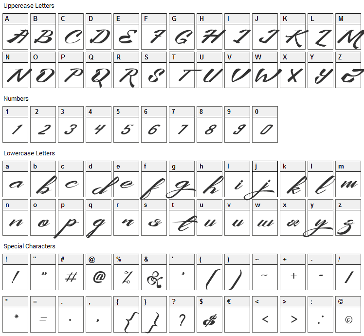King City Font Character Map
