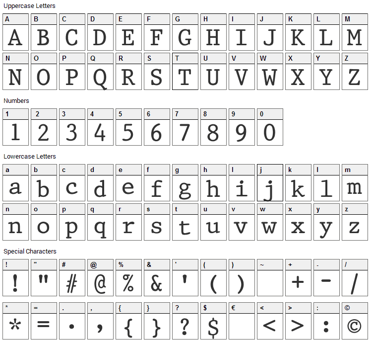 King Font Character Map