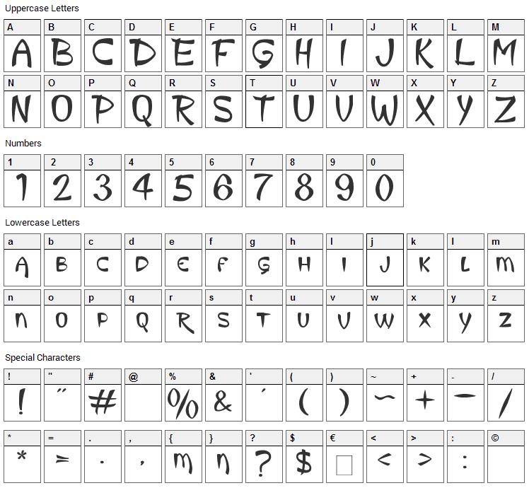 King Luau Font Character Map