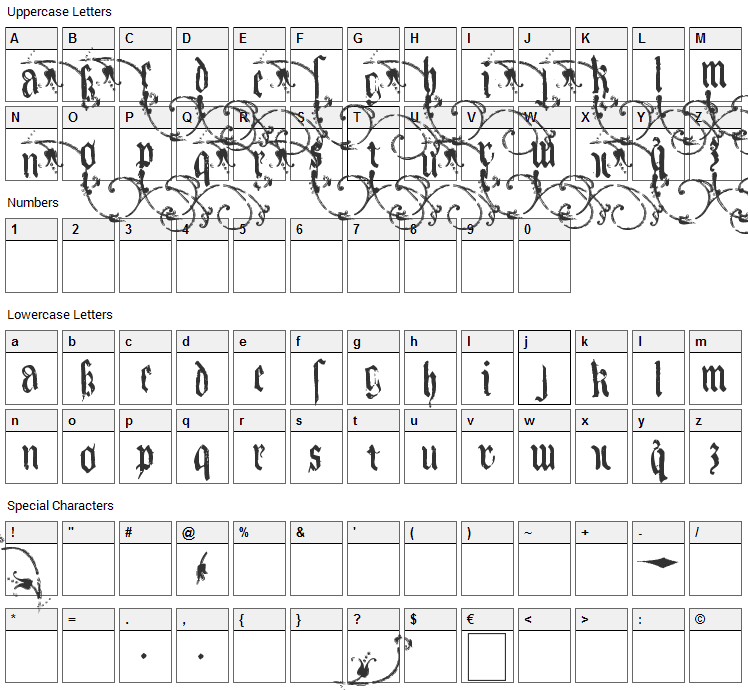Kingjola Font Character Map