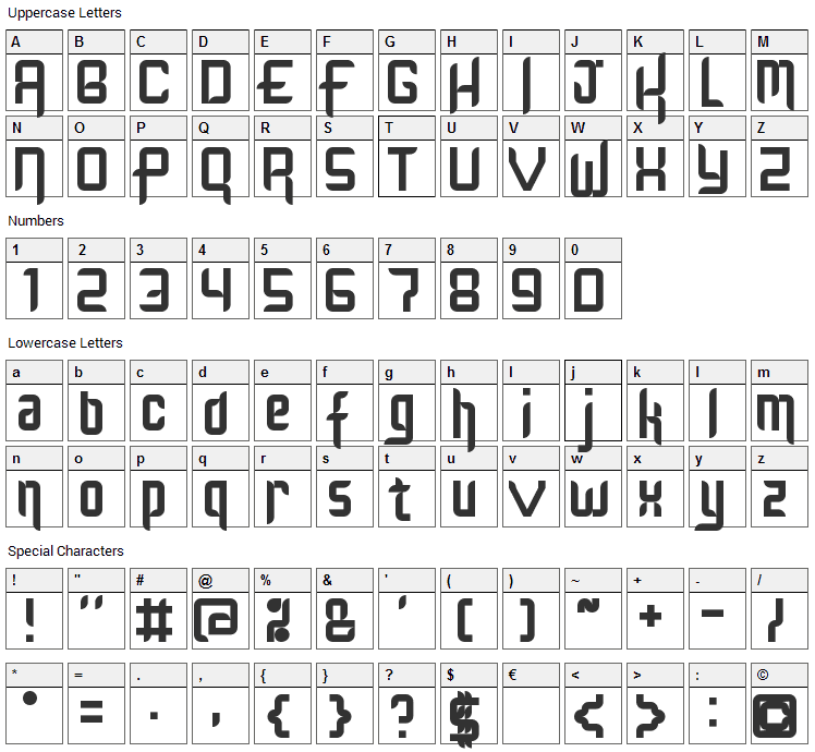 Kinglify Font Character Map